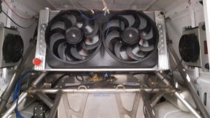 Rear-mounted dual-core dual-fan radiator for the new engine.