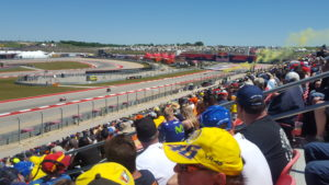 2017 MotoGp Race at Circuit of the Americas Rossi Fans blowing yellow smoke.