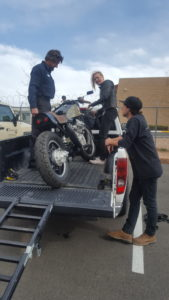 The bike is being loaded to go live in Clovis with its new owner.