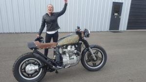 The happy new owner of the Honda GL500 Auriele Fain. She is a pilot in the airforce in Clovis, NM.