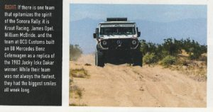Off Road Adventure Magazine Rally-G article
