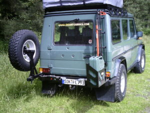 G-Wagen with swing-out tire and fuel mount